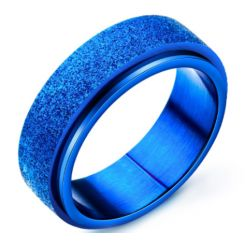 COI Blue Titanium Sandblasted Step Edges Ring-5342
