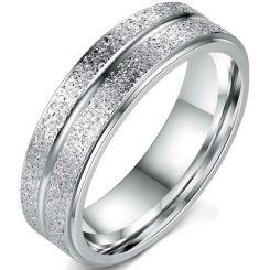 COI Titanium Center Groove Sandblasted Ring-5347