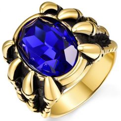 COI Gold Tone Titanium Ring With Created Blue Sapphire-5354