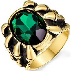 COI Gold Tone Titanium Ring With Created Green Emerald-5355