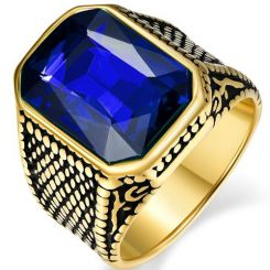 COI Gold Tone Titanium Ring With Created Blue Sapphire-5365