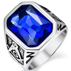 COI Titanium Masonic Ring With Created Blue Sapphire-5368