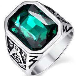 COI Titanium Masonic Ring With Created Green Emerald-5369