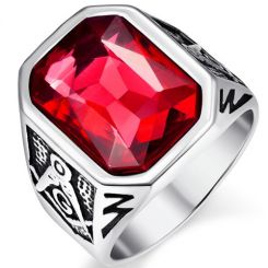 COI Titanium Masonic Ring With Created Red Ruby-5370