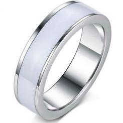 COI Titanium White Ceramic Pipe Cut Flat Ring-5392