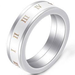 COI Titanium Ceramic Ring With Roman Numerals-5396