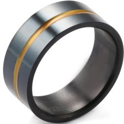 COI Black Titanium Yellow Center Groove Pipe Cut Flat Ring-5403