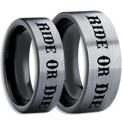 COI Tungsten Carbide Black Silver Ride or Die Pipe Cut Flat Ring-5407