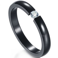 COI Black Titanium Solitaire Ring With Cubic Zirconia-5417