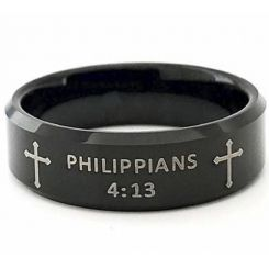 COI Black Tungsten Carbide Cross Beveled Edges Ring With Custom Scripture-5418