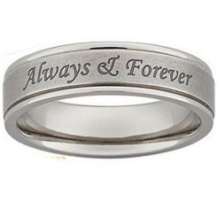 COI Tungsten Carbide Always & Forever Double Grooves Ring-5421