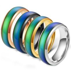 COI Titanium Black/Gold Tone/Rose/Silver Rainbow Pride Beveled Edges Ring-5423