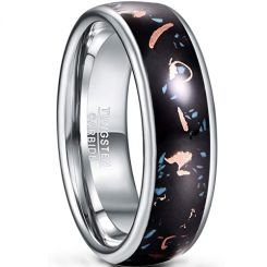 COI Tungsten Carbide Copper Scraps Inlays Dome Court Ring-5432