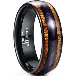 COI Black Tungsten Carbide Lapis Lazuli & Wood Dome Court Ring-5434