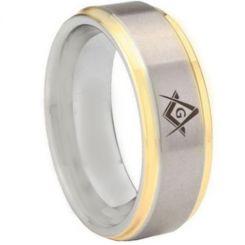 COI Tungsten Carbide Gold Tone Silver Masonic Step Edges Ring-5442