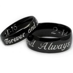 COI Black Tungsten Carbide Forever and Always Dome Court Ring-5444