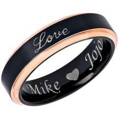 COI Tungsten Carbide Black Rose Love Step Edges Ring-5448