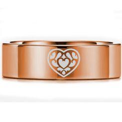 COI Rose Tungsten Carbide Zelda Heart Pipe Cut Flat Ring-5450