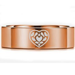 COI Rose Tungsten Carbide Zelda Heart Pipe Cut Flat Ring-5450