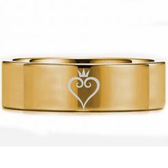 COI Gold Tone Tungsten Carbide Kingdom Heart Pipe Cut Flat Ring-5451