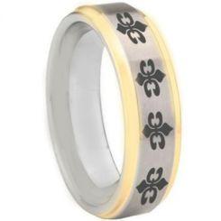 COI Tungsten Carbide Gold Tone Silver Fleur De Lis Step Edges Ring-5452