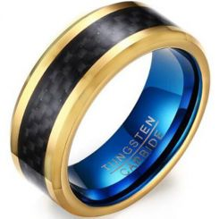 *COI Tungsten Carbide Blue Gold Tone Beveled Edges Ring With Carbon Fiber-5465