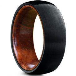 COI Black Tungsten Carbide Dome Court Ring With Wood-5469