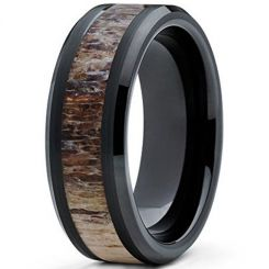 COI Black Tungsten Carbide Beveled Edges Ring With Deer Antler-5472