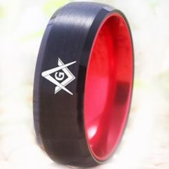 COI Tungsten Carbide Black Red Masonic Beveled Edges Ring-5477