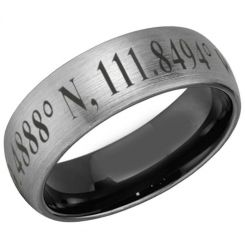 COI Tungsten Carbide Black Silver Custom Co-ordinate Dome Court Ring-5481