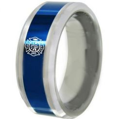 COI Tungsten Carbide Blue Silver Firefighter Beveled Edges Ring-5488