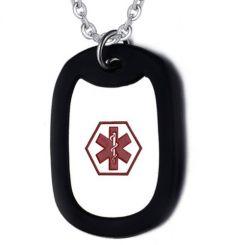COI Titanium Medic Alert Pendant With Black Silicon-5517