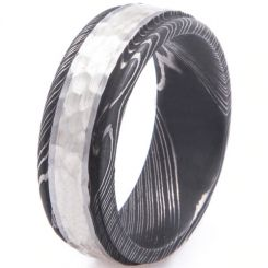 COI Tungsten Carbide Black Silver Hammered Damascus Step Edges Ring-5530