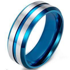 *COI Titanium Blue Silver Center Groove Beveled Edges Ring-5538