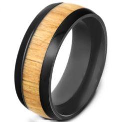 COI Black Titanium Wood Dome Court Ring-5540