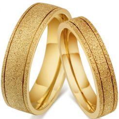 COI Gold Tone Titanium Double Grooves Sandblasted Ring-5545