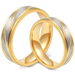*COI Titanium Gold Tone Silver Diagonal Grooves Ring-5547