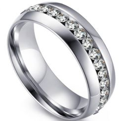 COI Titanium Dome Court Ring With Cubic Zirconia-5549
