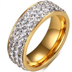 COI Gold Tone Titanium Ring With Cubic Zirconia-5564