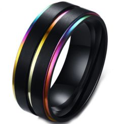 COI Black Titanium Rainbow Pride Step Edges Ring-5572