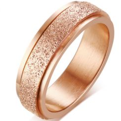 COI Titanium Rose/Black/Gold Tone/Blue/Rainbow Pride Sandblasted Step Edges Ring-5574