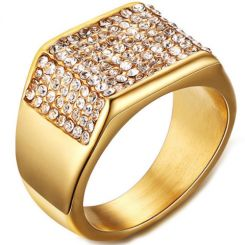 COI Gold Tone Titanium Ring With Cubic Zirconia-5576
