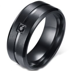 COI Black Titanium Center Groove Beveled Edges Ring With Cubic Zirconia-5583