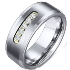 COI Titanium Beveled Edges Ring With Cubic Zirconia-5586