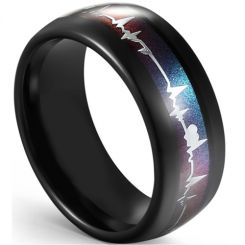 COI Black Tungsten Rainbow Pride Heartbeat Dome Court Ring-5594