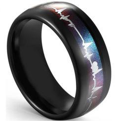 COI Black Tungsten Carbide Rainbow Pride Heartbeat Dome Court Ring-5594