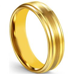 COI Gold Tone Tungsten Carbide Center Line Step Edges Ring-5599