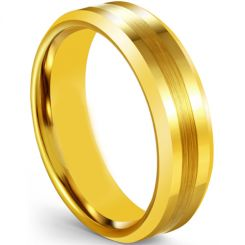 COI Gold Tone Tungsten Carbide Center Line Step Edges Ring-5606