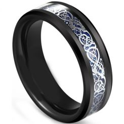 COI Black Tungsten Carbide Dragon Beveled Edges Ring-5607