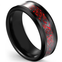 COI Tungsten Carbide Black Red Dragon Beveled Edges Ring-5617